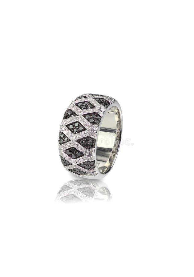 Czarny diament i onyks Brukujemy Ślubnej rocznicy pierścionek obrazy royalty free