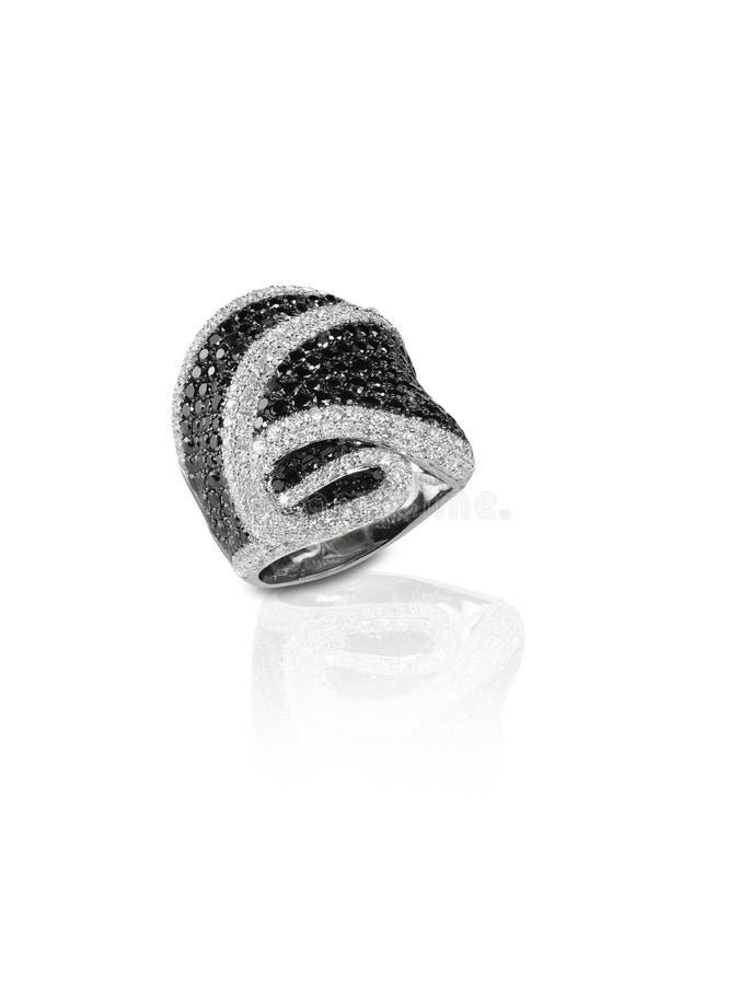 Czarny diament i onyks Brukujemy Ślubnej rocznicy pierścionek zdjęcie stock
