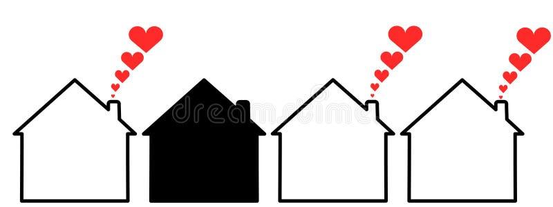 czarny dom ilustracji