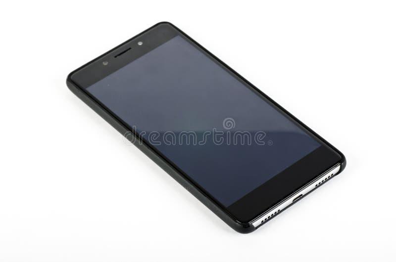 Czarny dotyka ekranu smartphone z pokrywą obraz royalty free