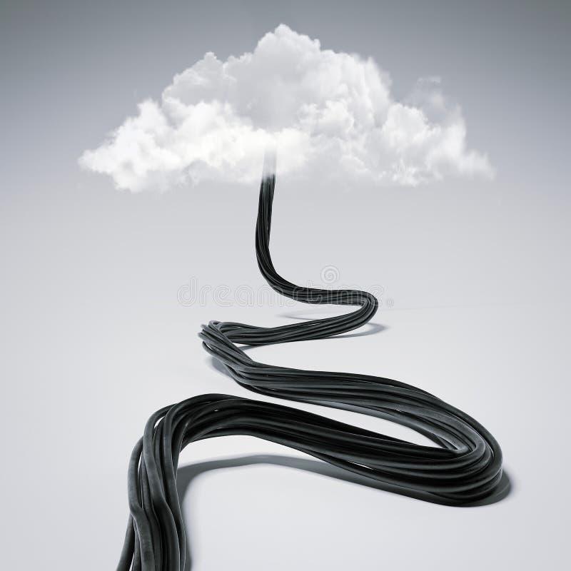 Czarny drut miewa skłonność chmury świadczenia 3 d ilustracja wektor
