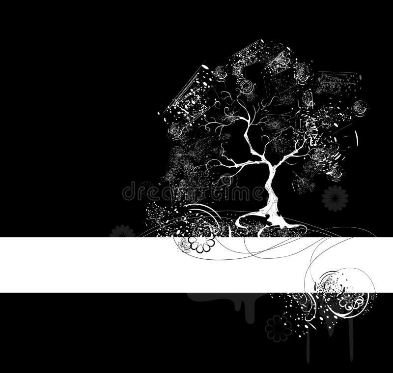 czarny drzewny biel ilustracja wektor