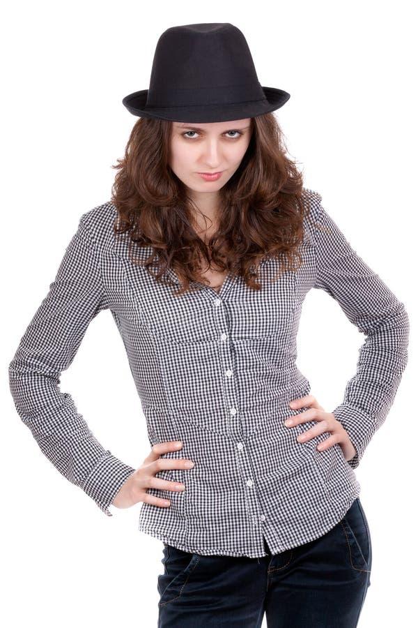 czarny dziewczyny kapeluszowa szkockiej kraty koszula obraz stock