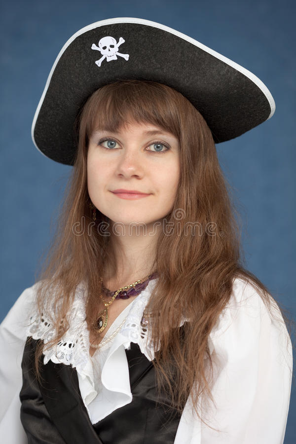 czarny dziewczyny kapeluszowy pirata portret zdjęcia stock