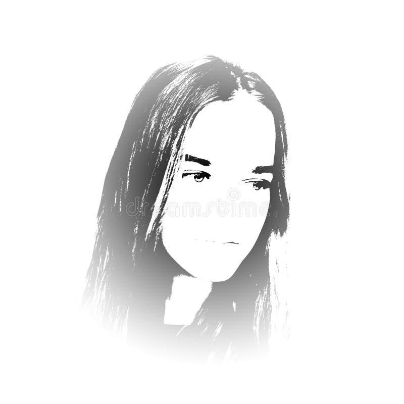czarny dziewczyny portreta biel potomstwa ilustracji