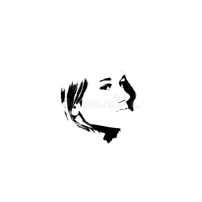 czarny dziewczyny portreta biel potomstwa ilustracja wektor
