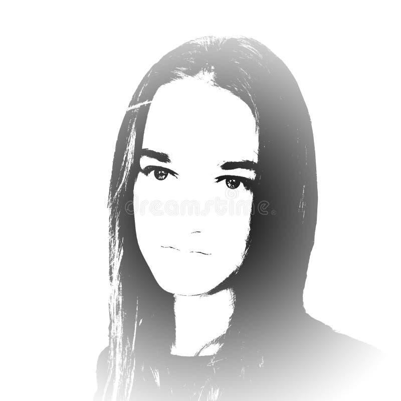 czarny dziewczyny portreta biel potomstwa royalty ilustracja