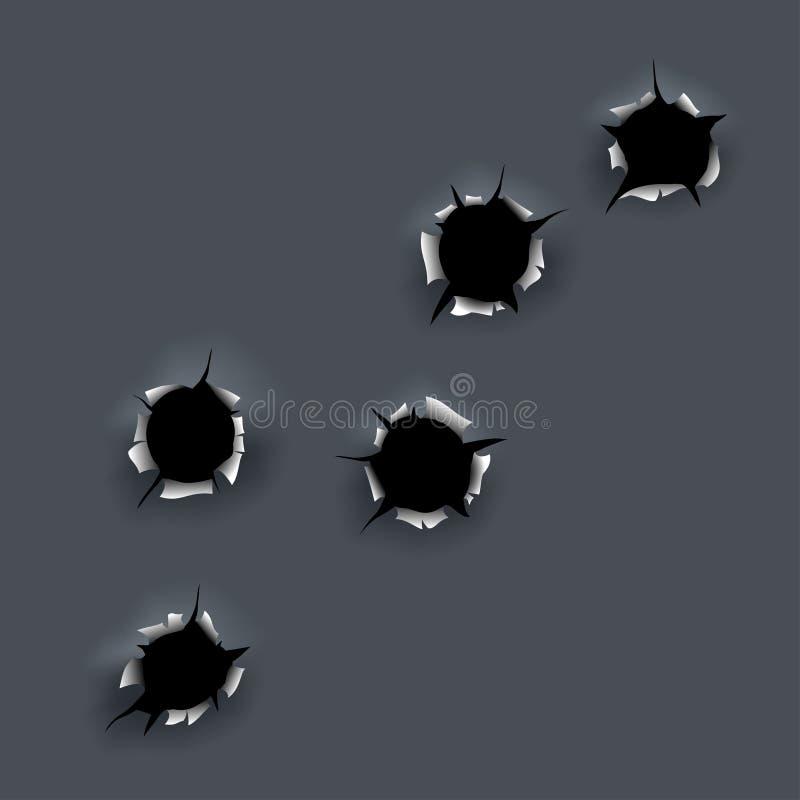 czarny dziura po kuli papier drzejący biel royalty ilustracja