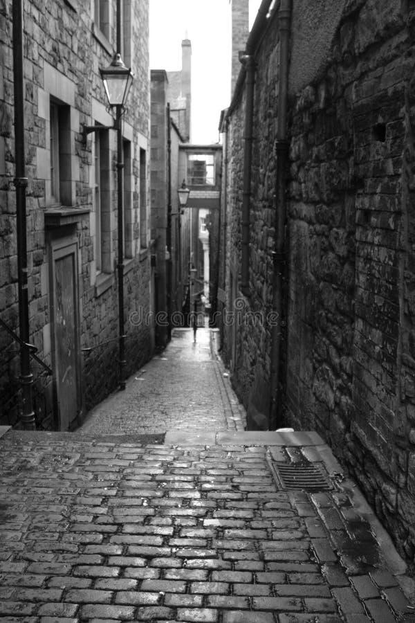 czarny Edinburgh stary white street fotografia royalty free