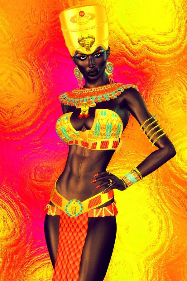 Czarny Egipski princess w nasz nowożytnym cyfrowym sztuka stylu, zamyka up ilustracji