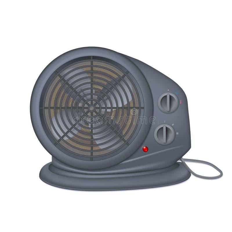 Czarny elektryczny nagrzewacz z fan, kaloryferowy urządzenie dla astronautycznego ogrzewania Ikona domowy nagrzewacz z elektryczn ilustracja wektor