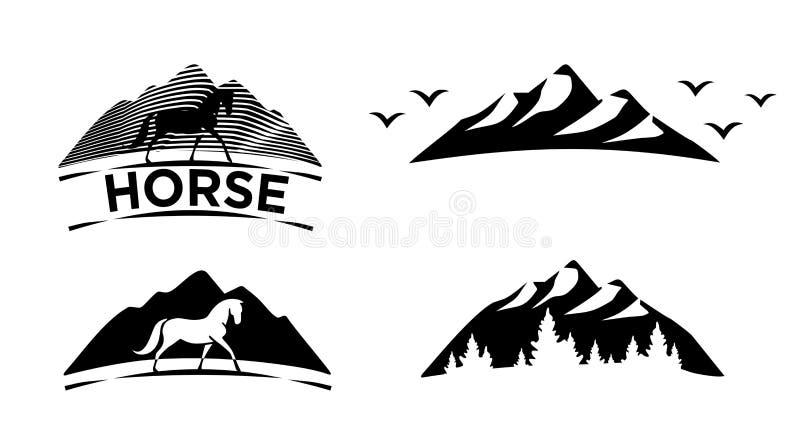 czarny eps ikon jpeg set Koń, góra, las ilustracji