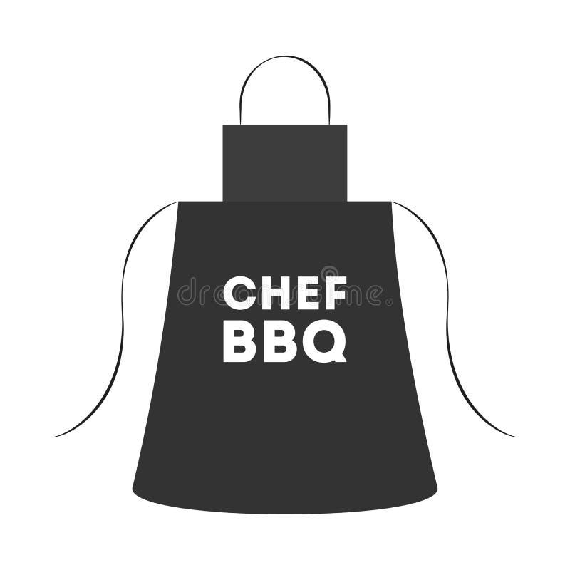 Czarny fartuch dla grilla robić Pomysł BBQ kucharstwo ilustracji