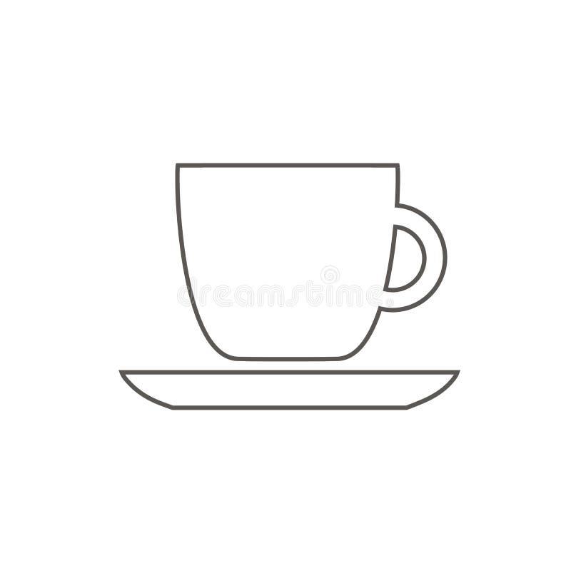 Czarny filiżanki ikony kontur z kawowym cukiernianym restauracyjnym jedzeniem pije herbacianego czerń kontur na białym tle ilustracja wektor