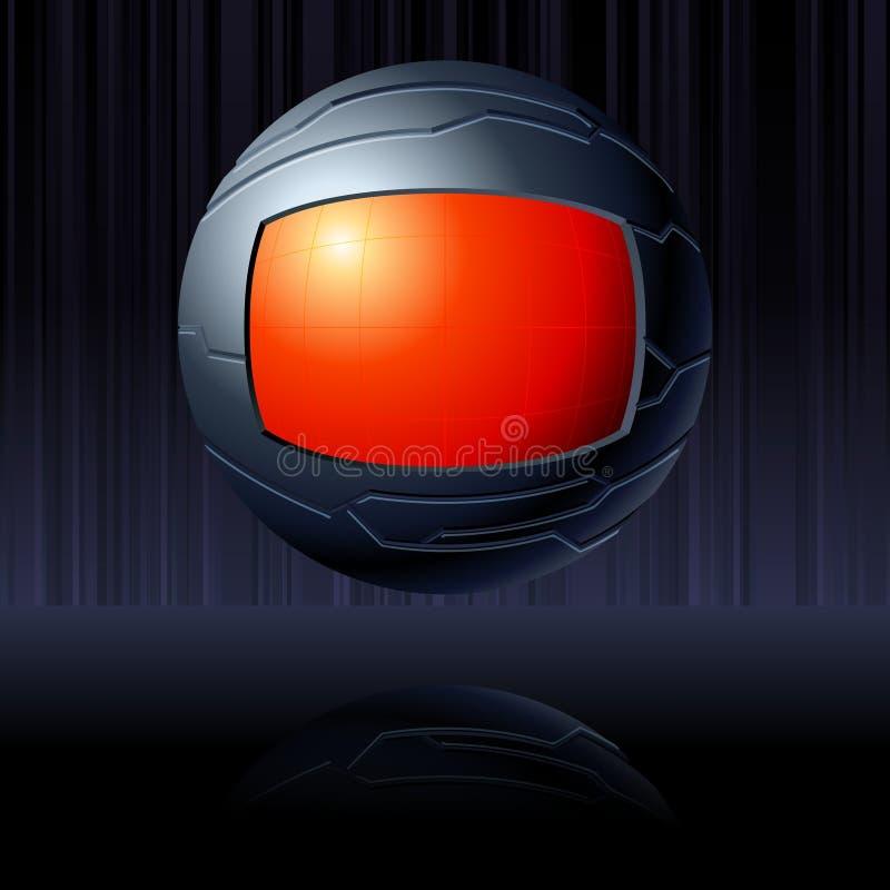 czarny futurystyczne kuli ziemskiej czerwieni przezroczystość ilustracja wektor