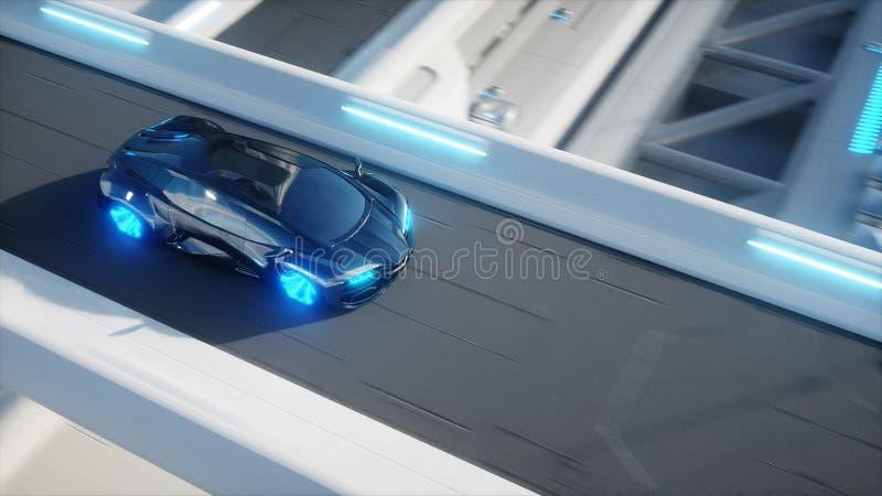 Czarny futurystyczny elektrycznego samochodu bardzo postu jeżdżenie w sci fi sity, miasteczko Pojęcie przyszłość świadczenia 3 d royalty ilustracja