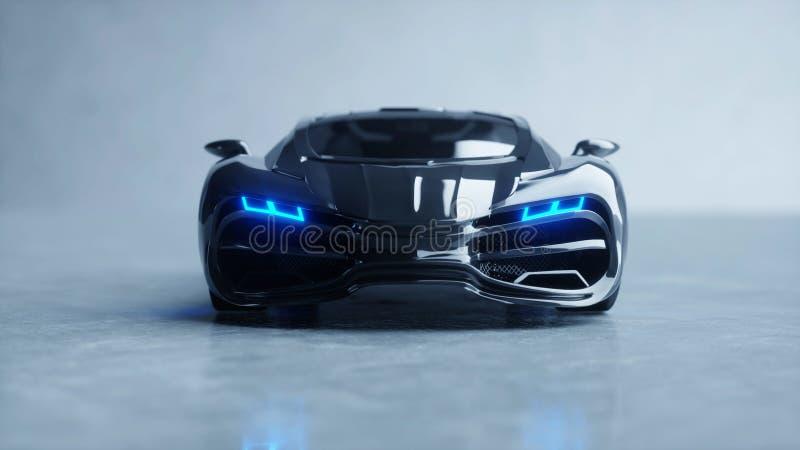 Czarny futurystyczny elektryczny samochód z błękita światłem Pojęcie przyszłość świadczenia 3 d royalty ilustracja