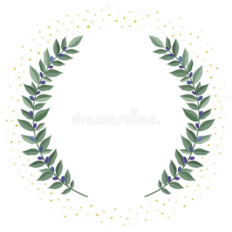 Czarny gałązka oliwna wianek na białym tle z złotą pył ramą od oliwnych liści Rocznika wianek heraldyczny royalty ilustracja