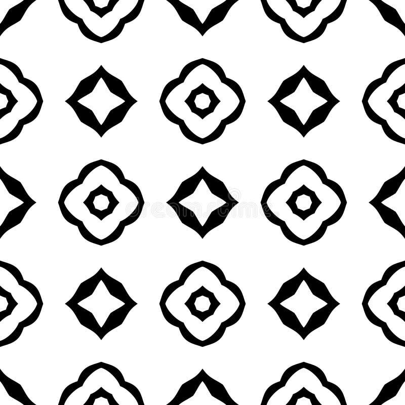 Czarny GEOMETRYCZNY bezszwowy wzór w białym tle ilustracja wektor