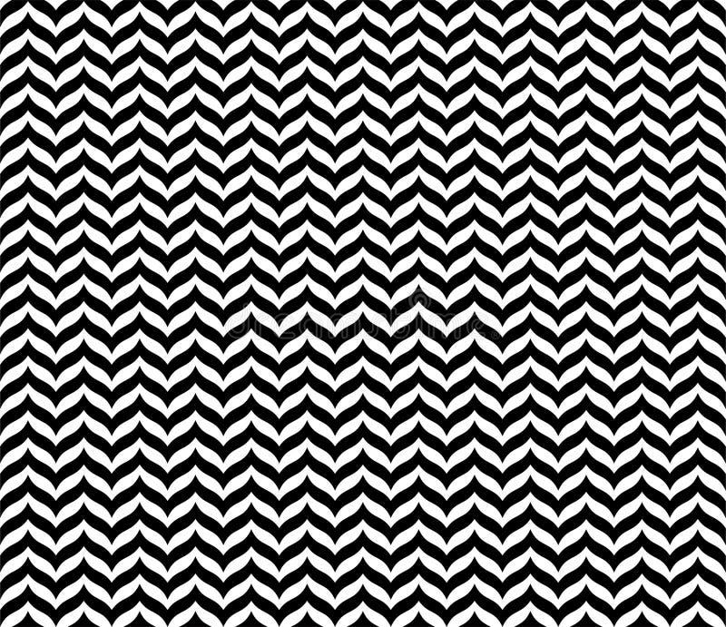 Czarny Geometryczny Bezszwowy Zygzakowaty wzór w białym tle ilustracja wektor