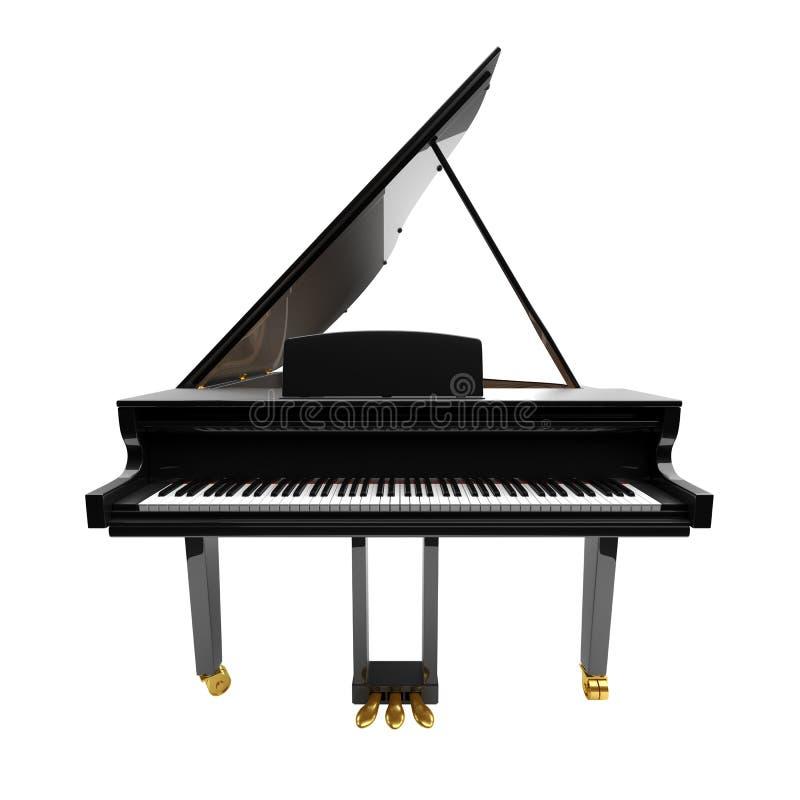 Czarny glansowany instrument muzyczny - akustyczny pianino royalty ilustracja