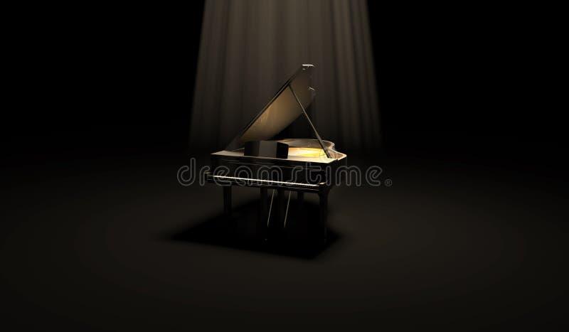 Czarny Glansowany pianino w Ciemnej scenie ilustracja wektor