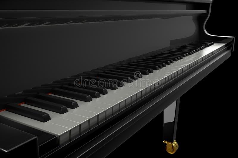 Czarny Glansowany pianino w Ciemnej scenie ilustracji