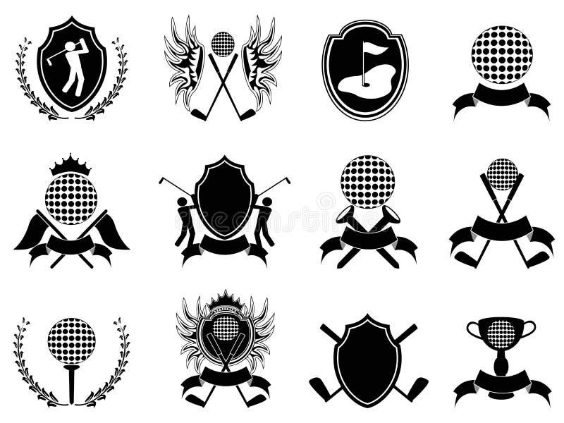 Czarny golfowa insygnia royalty ilustracja