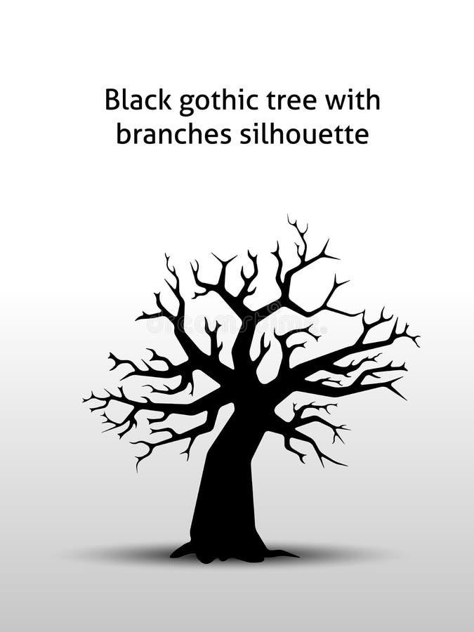 Czarny gothic drzewo z gałąź sylwetką royalty ilustracja