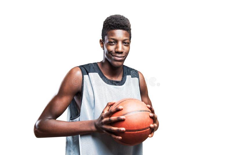 Czarny gracz koszykówki fotografia stock