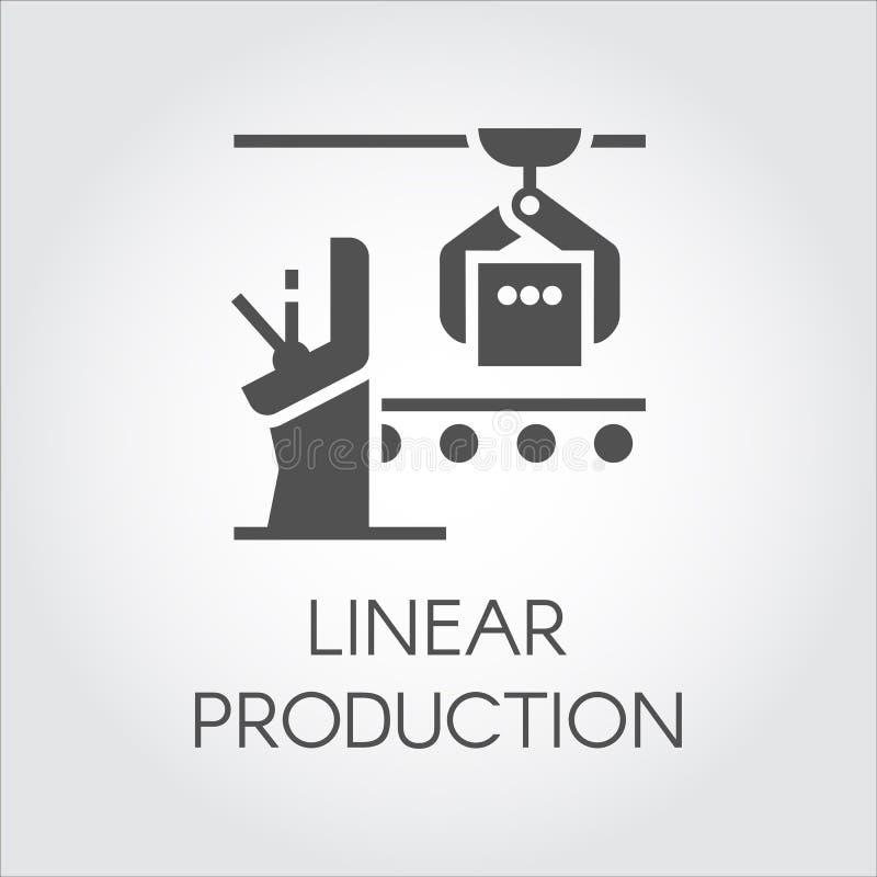 Czarny graficzny element nowożytny wyposażenie dla liniowej produkci Automatyzujący wysokiej jakości system Przemysł ciężki royalty ilustracja