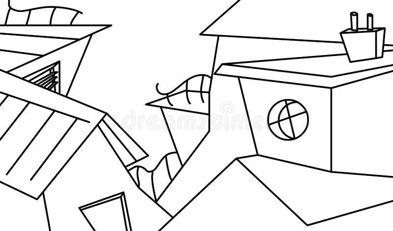 Download Czarny grodzki biel ilustracji. Obraz złożonej z budynki - 13465853