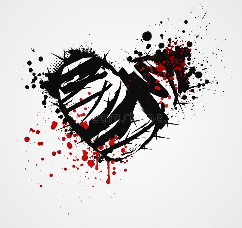 Czarny grunge serce z cierniami ilustracji