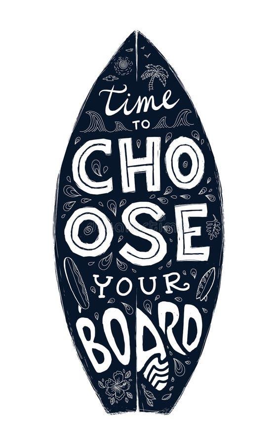 Czarny grunge surfingu deski kształt z pociągany ręcznie literowaniem na nim ilustracji