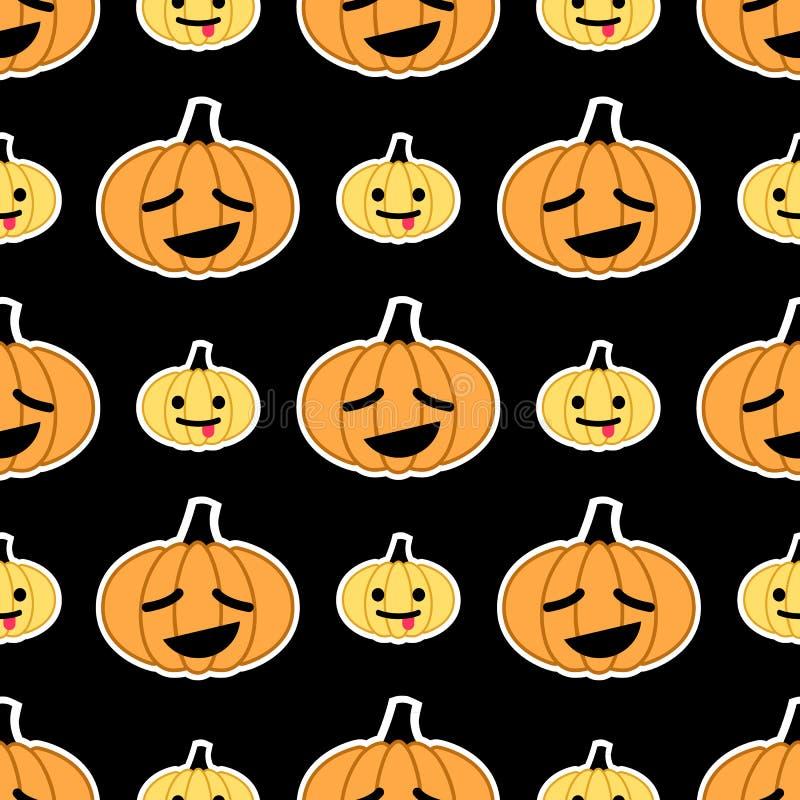Czarny Halloweenowy dyniowy bezszwowy wzór ilustracja wektor