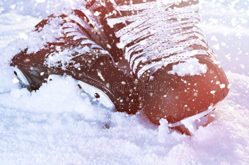 Czarny hokej jeździć na łyżwach lying on the beach w jaskrawym słońcu i śniegu obrazy royalty free