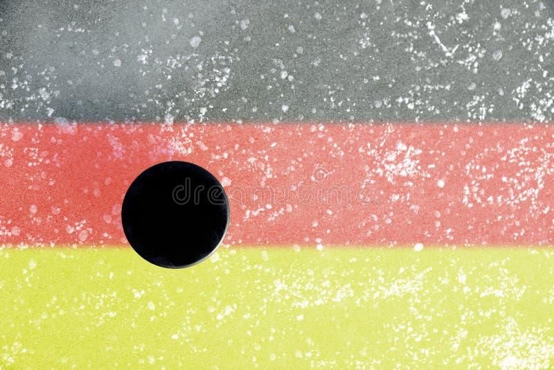 czarny hokeja lodu krążek hokojowy lodowisko ilustracja wektor