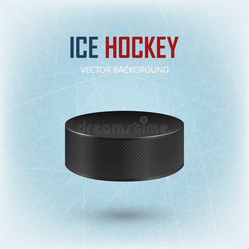 Czarny hokejowy krążek hokojowy na lodowym lodowisku - wektorowy tło ilustracja wektor
