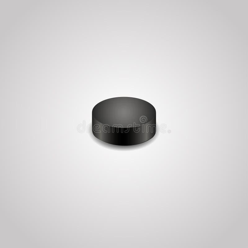 Czarny hokejowy krążek hokojowy na popielatym tle royalty ilustracja