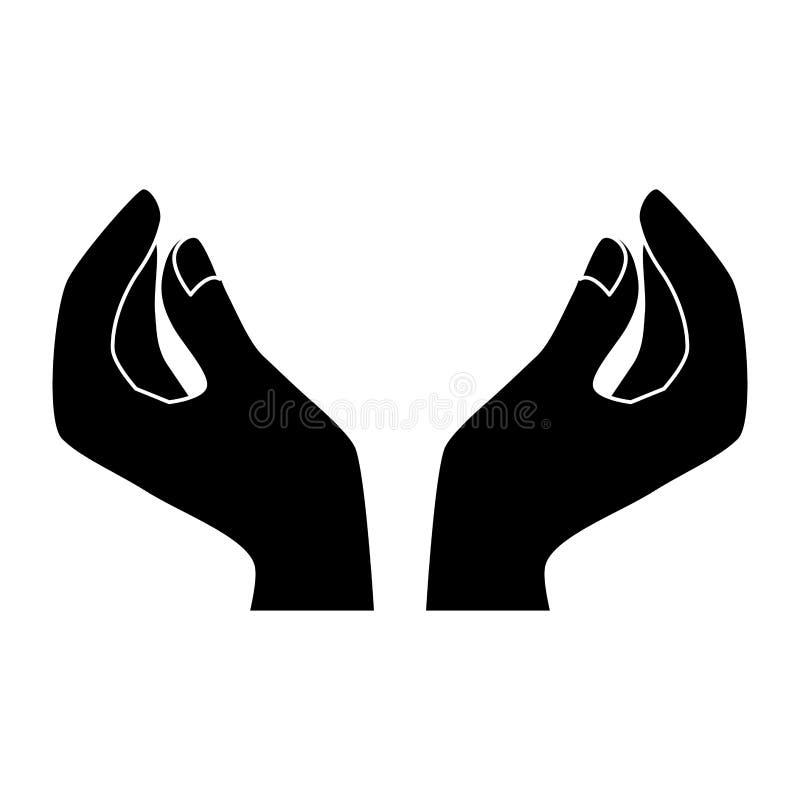 Czarny homan wręcza ikona wizerunek ilustracja wektor