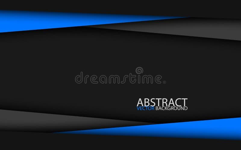 Czarny i błękitny nowożytny materialny projekt, korporacyjny szablon dla twój biznesu royalty ilustracja