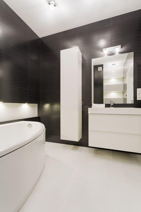 Czarny i biały łazienka obrazy stock