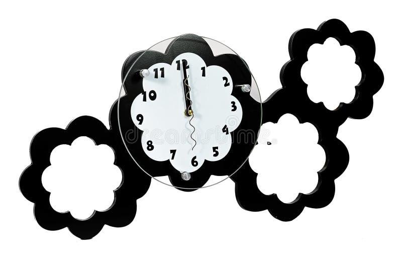 Czarny i biały ścienny zegar z trzy fotografii ramami royalty ilustracja