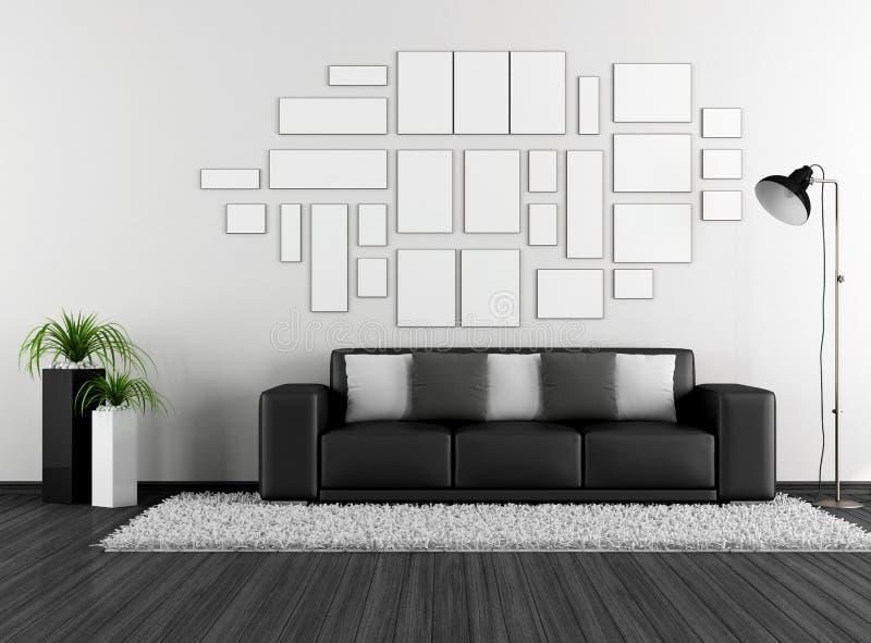 Czarny i biały żywy pokój z nowożytną leżanką i opróżnia ramę ilustracji