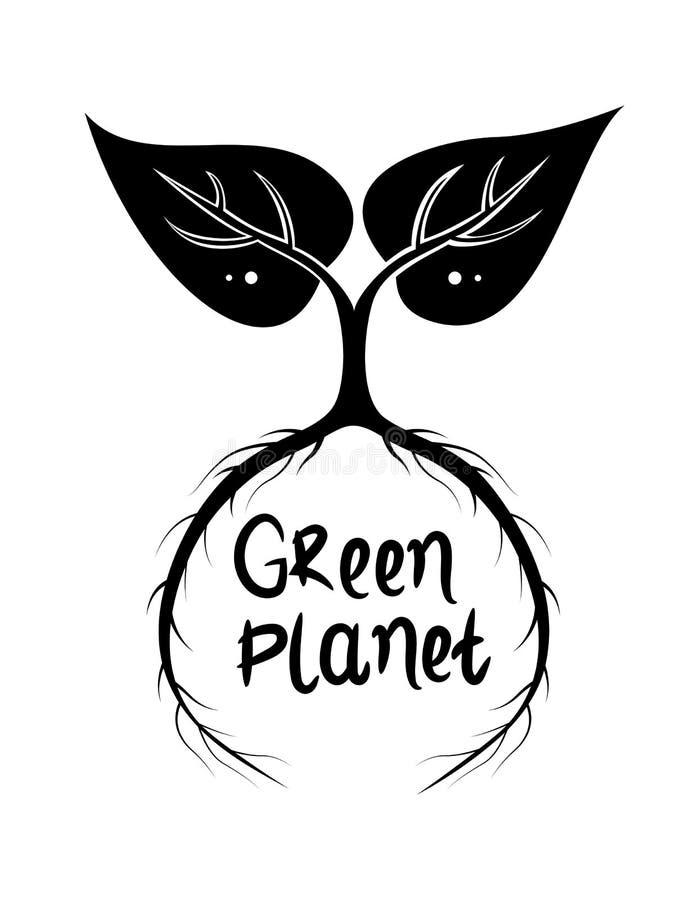 Czarny i biały abstrakcjonistyczna ilustracja z dwa liśćmi z długimi korzeniami wokoło inskrypcji zieleni planety ilustracja wektor