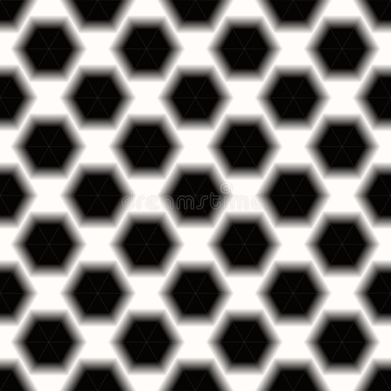 Czarny I Biały Abstrakcjonistycznego heksagonalnego tła Ciemny geometryczny bezszwowy wzór ilustracja wektor