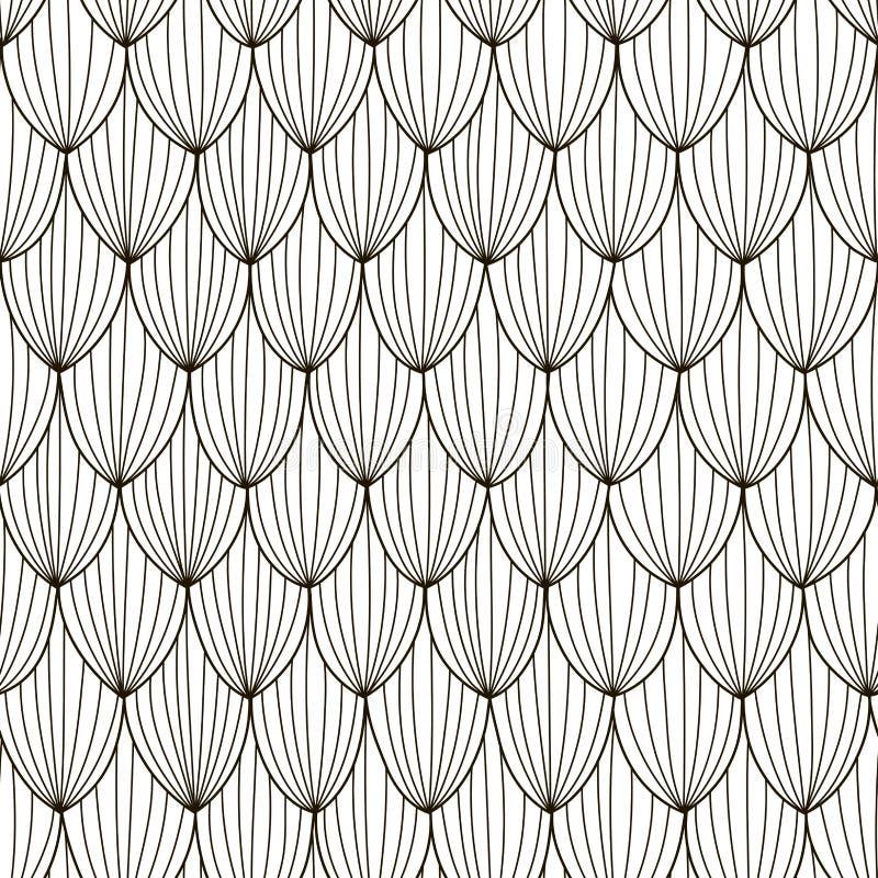 Czarny i biały abstrakcjonistyczny bezszwowy wzór Ręka rysujący falowy tło ilustracji
