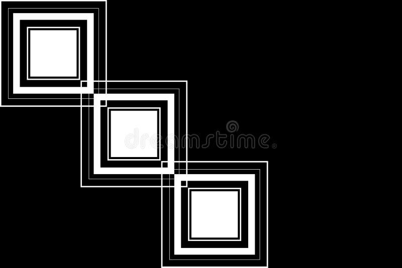 Czarny i biały abstrakcjonistyczny prostokąta stylu tło royalty ilustracja