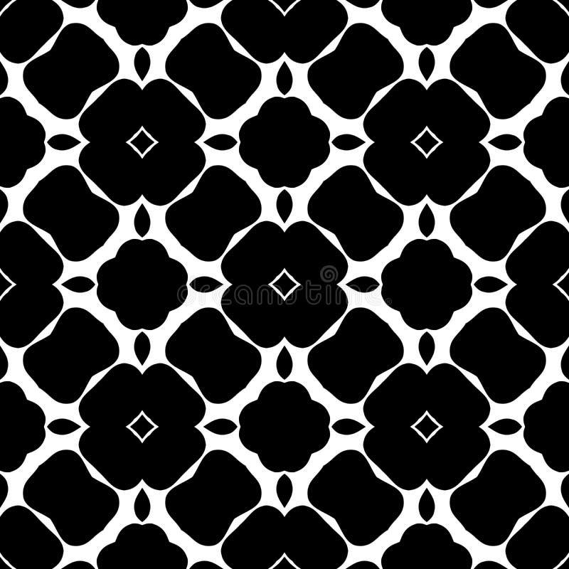 Czarny i biały abstrakt, bezszwowy śmiały kwiaciasty projekt ilustracja wektor