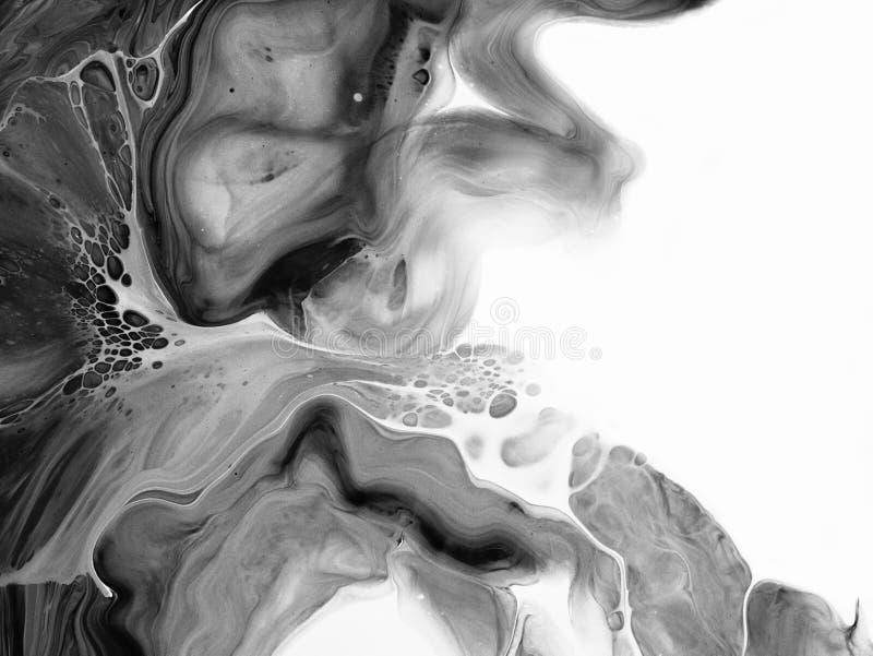 Czarny i biały abstrakt malował tło, tapeta, tekstura nowoczesna sztuka obrazy royalty free